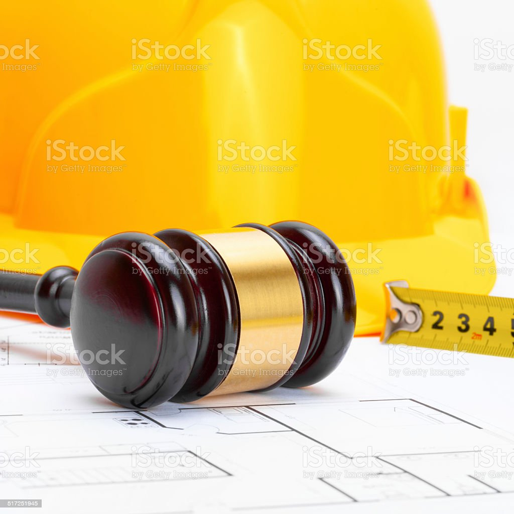 Gavel and helmet - 1 to 1 ratio stock photo