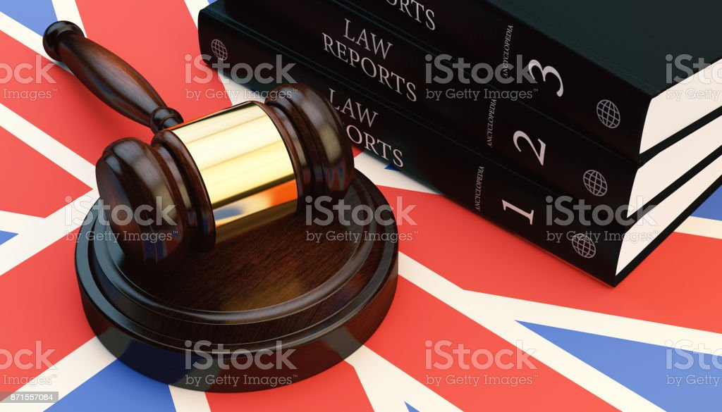 Gavel And Law Books On British Flag Stock Photo & More