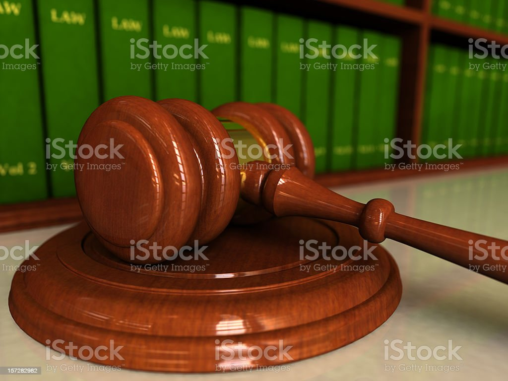 Gavel and Law Books royalty-free stock photo