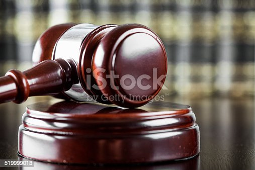 Gavel and law books.