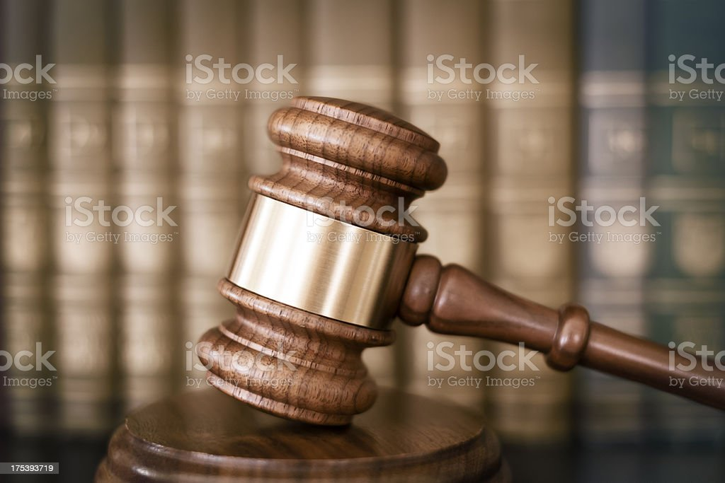 Gavel and legal books royalty-free stock photo