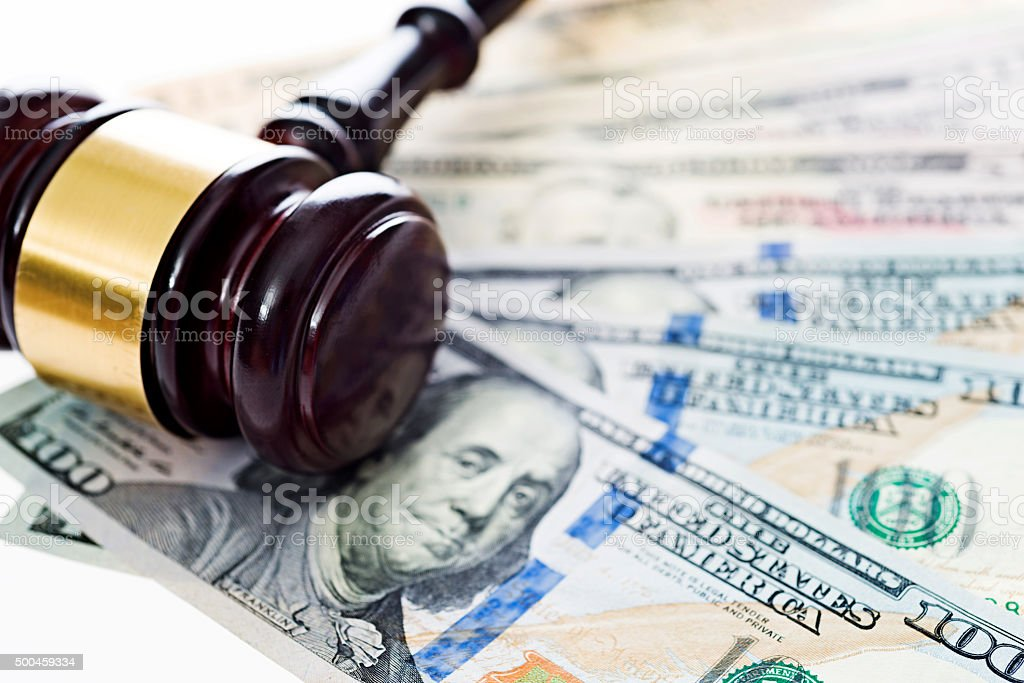 Gavel and money stock photo