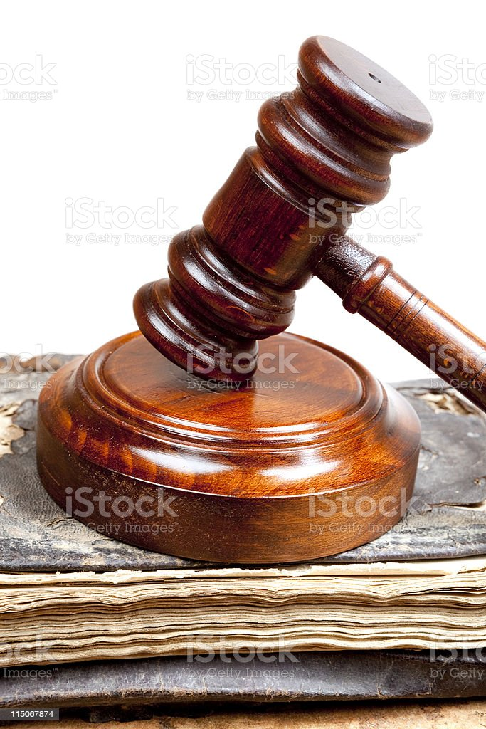Gavel And Old books stock photo