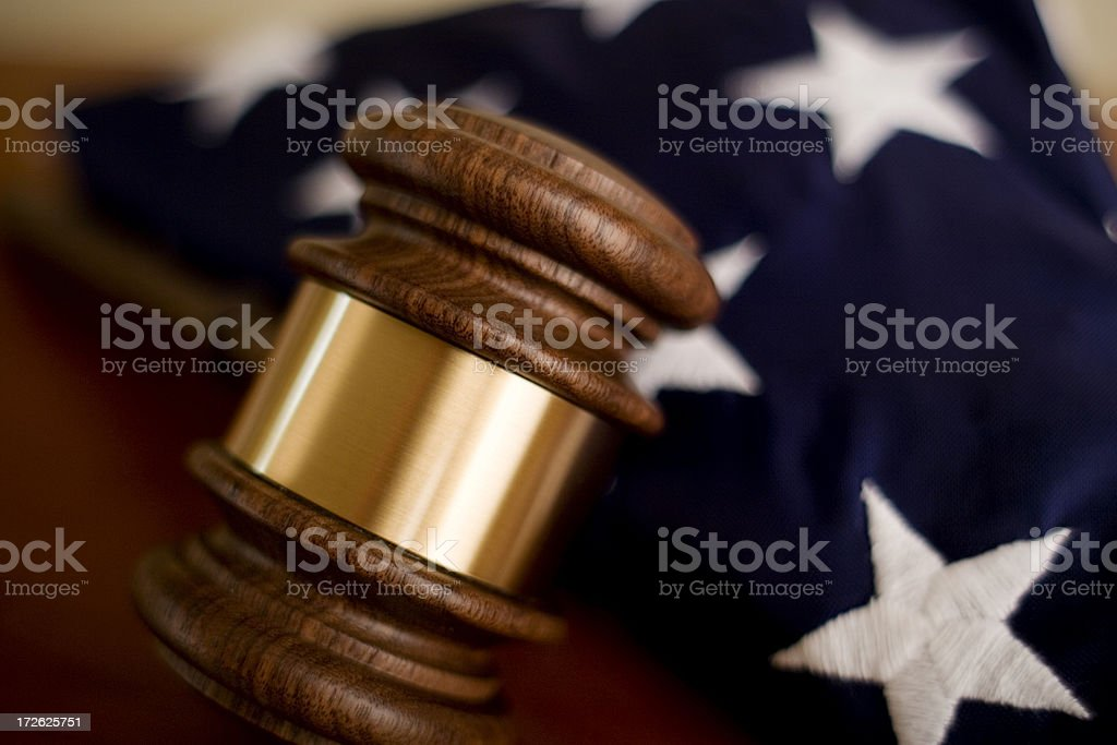 Gavel and Old Glory royalty-free stock photo