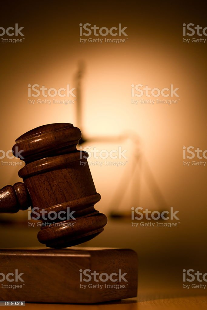 Gavel and scale stock photo