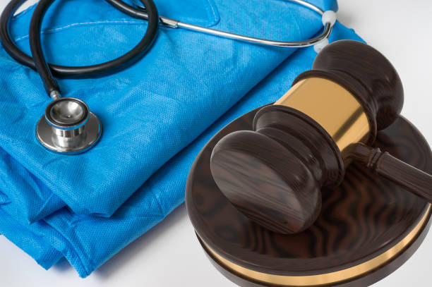 Gavel and stethoscope - medical law concept stock photo