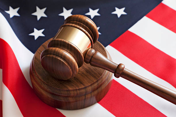 Gavel and USA flag stock photo