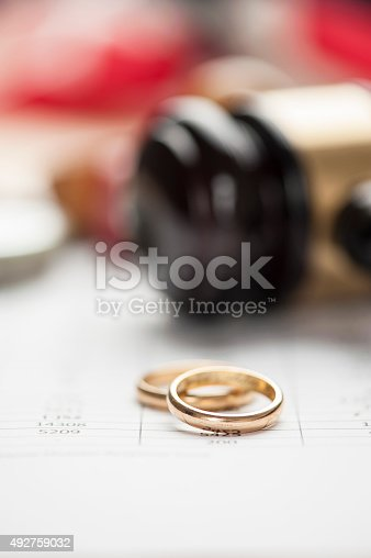 istock Gavel and wedding rings 492759032