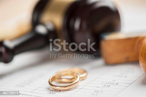 istock Gavel and wedding rings 492759074