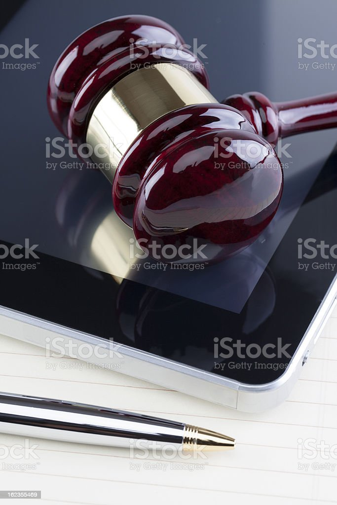 Gavel & Digital Tablet royalty-free stock photo