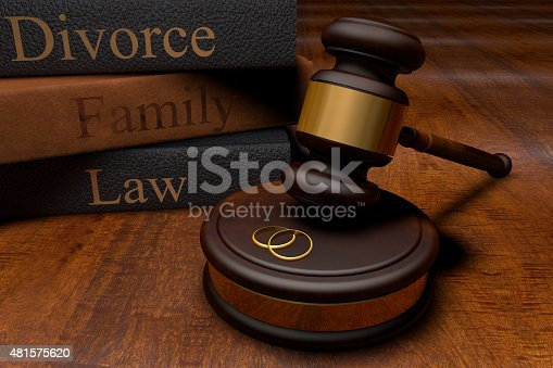 istock Gavel, divorce law books and wedding rings 481575620