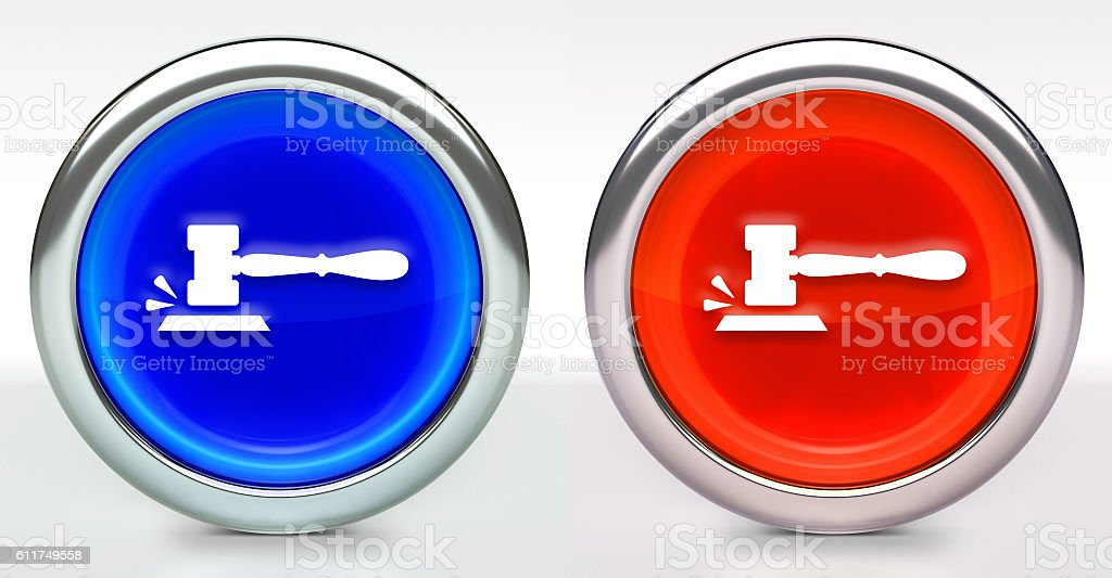 Gavel Icon on Button with Metallic Rim - foto de acervo