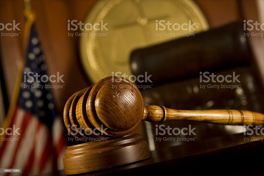 Gavel In Court Room stock photo
