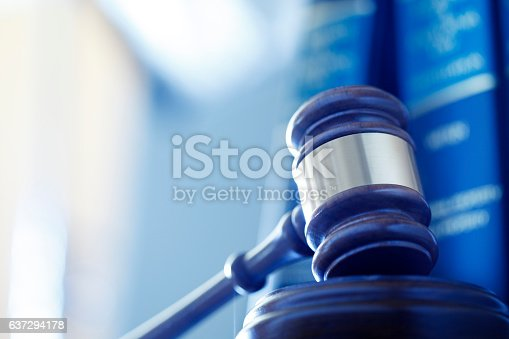 A wooden gavel rests on its sounding block in front of a row of law books and an office interior that are out of focus in the background. Photographed using a shallow depth of field.