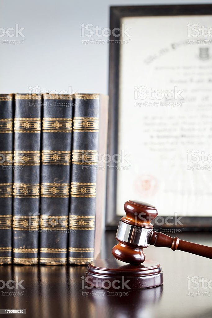 Gavel, Law Books and Diploma stock photo