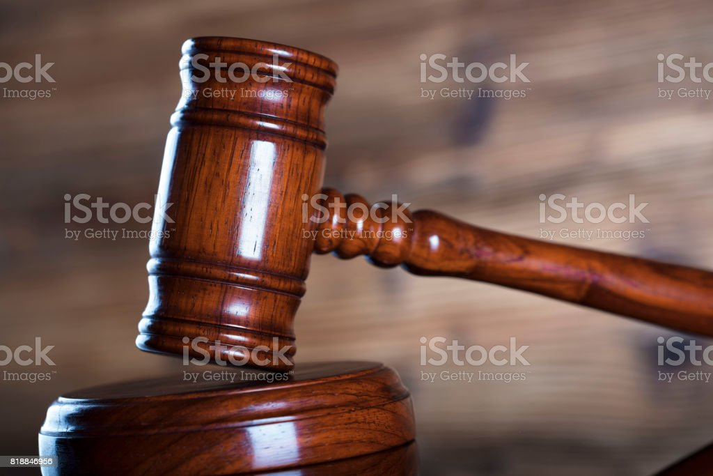 Gavel. Mallet of the judge. stock photo