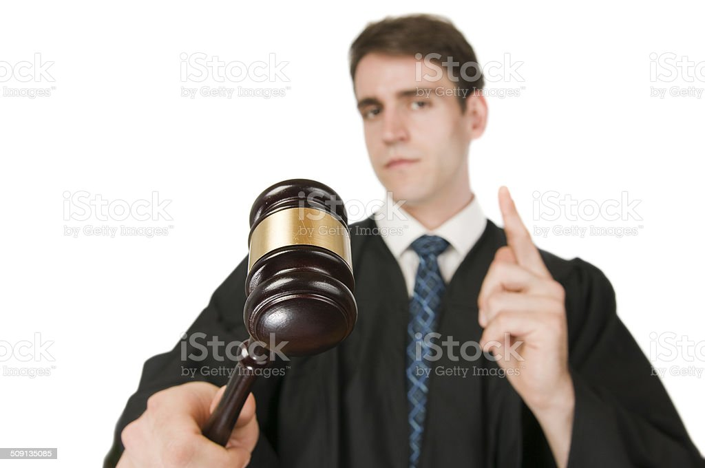 Hammer des Richters auf Weiß – Foto