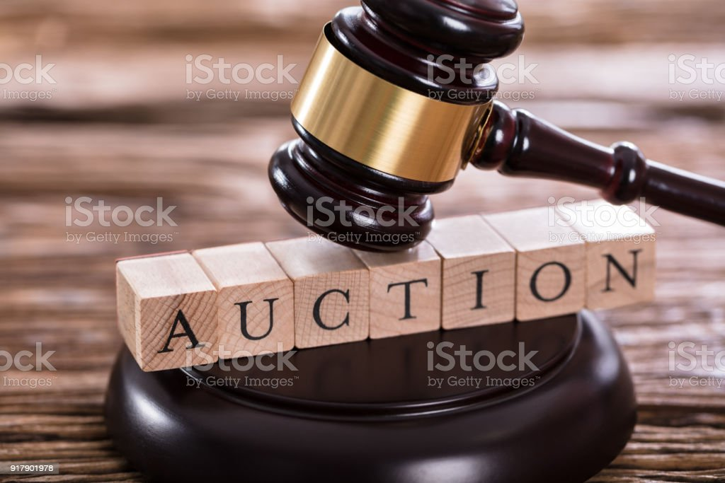 Gavel On Auction Word stock photo