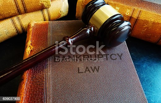 istock Gavel on bankruptcy Law books 639037900