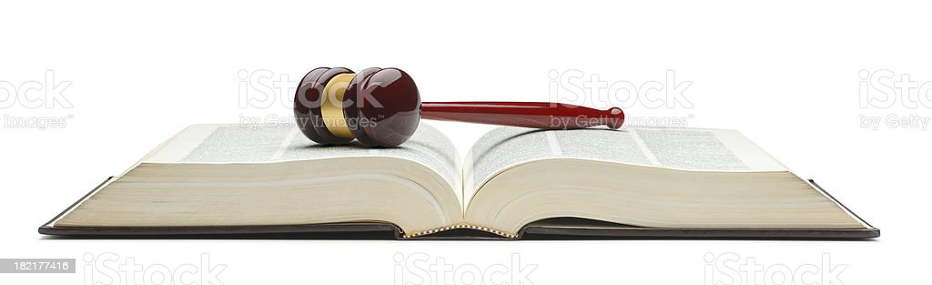 Gavel on Law Book royalty-free stock photo
