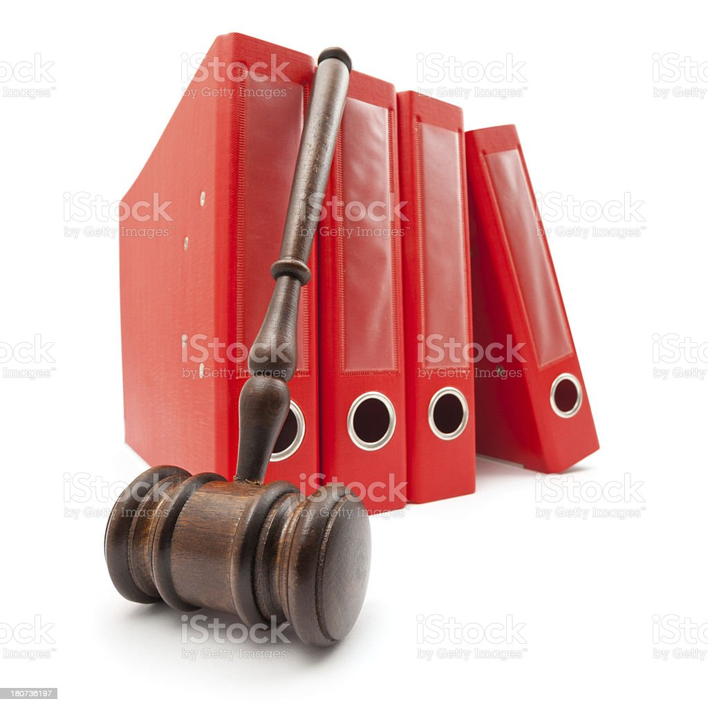 gavel on lawyer records royalty-free stock photo