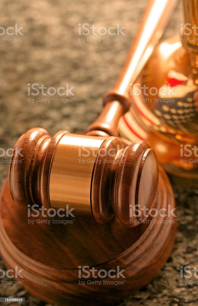 Gavel on marble desk royalty-free stock photo