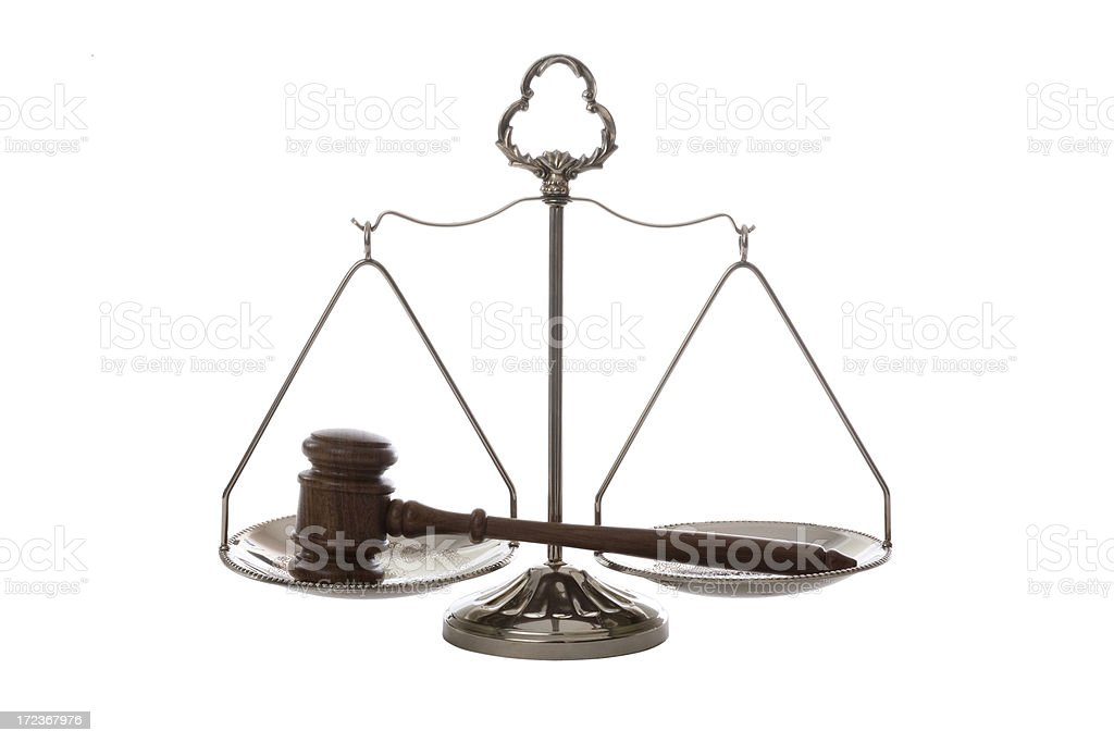 Gavel on Scale of Justice royalty-free stock photo