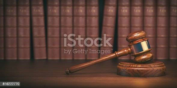 istock Gavel on the background of vintage lawyer books. Concept of law and justice. 816222770
