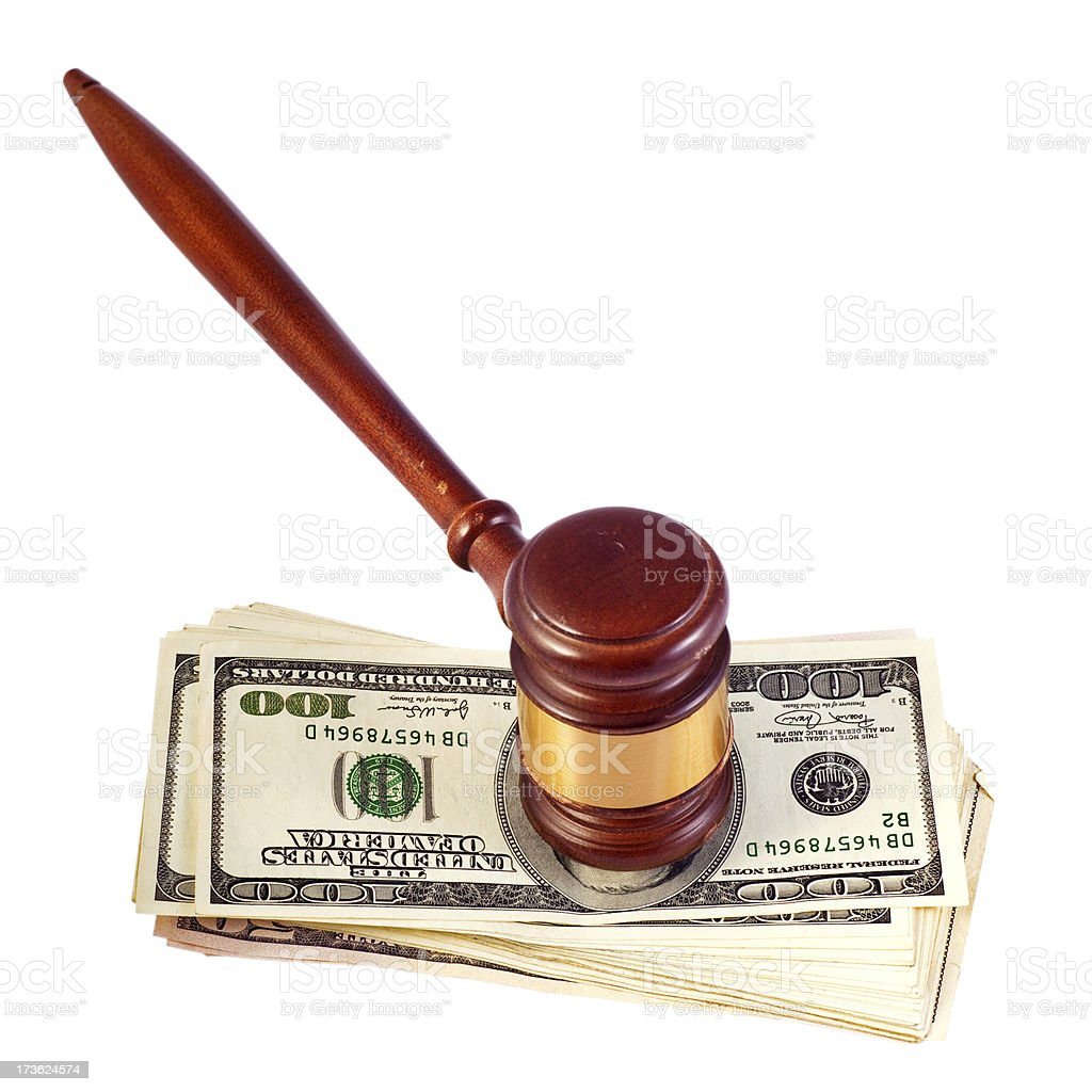 Gavel Over Money royalty-free stock photo