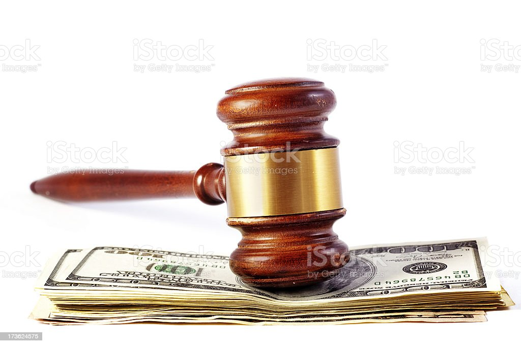 Gavel Over Money royalty-free stock photo