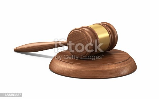 3d Render Gavel (isolated on white and clipping path
