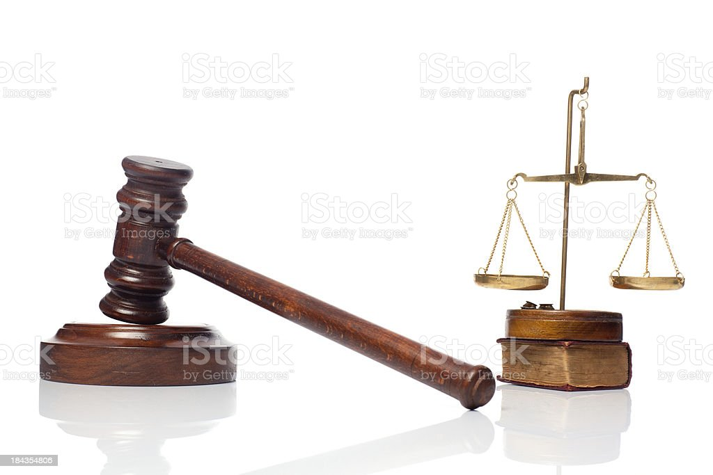 Gavel scale of justice and constitution book on white background royalty-free stock photo