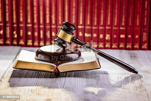 istock Gavel the symbol of law in court library 519863844