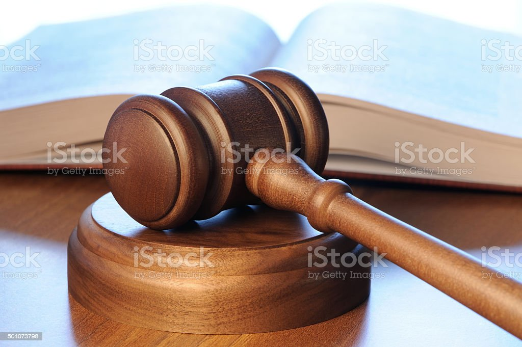 Gavel with book stock photo