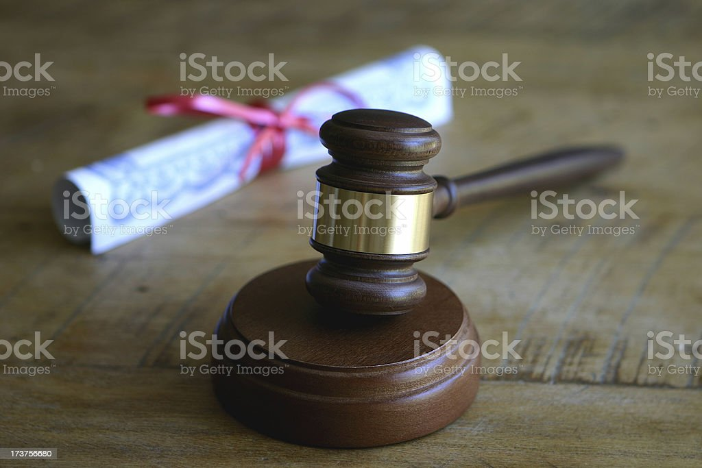 Gavel with Certificate royalty-free stock photo