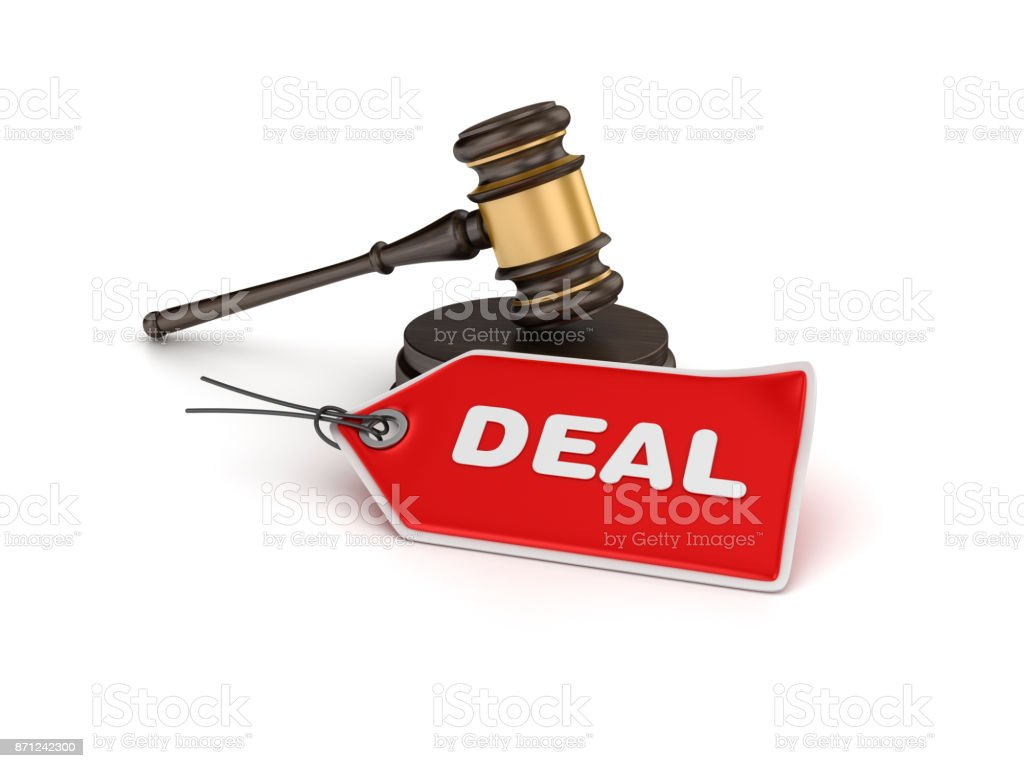 Gavel with Deal Tag - 3D Rendering stock photo