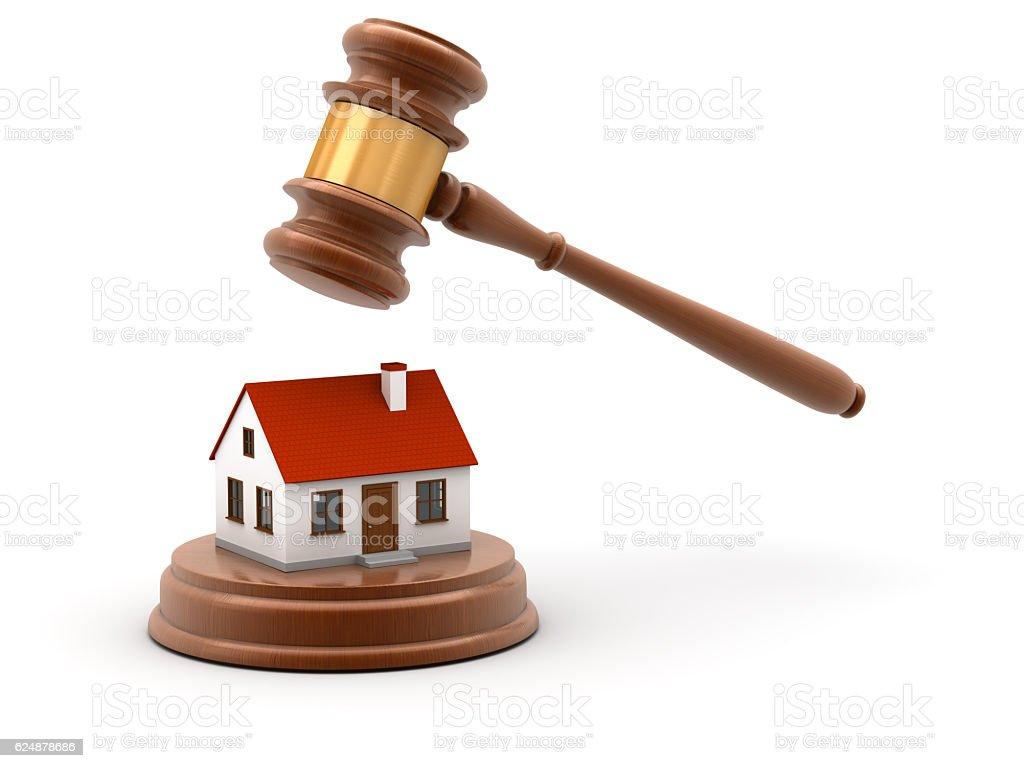 Gavel with house stock photo