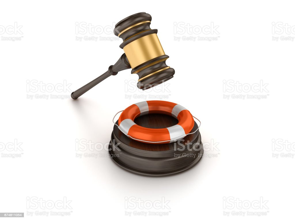 Gavel with Life Belt - 3D Rendering stock photo