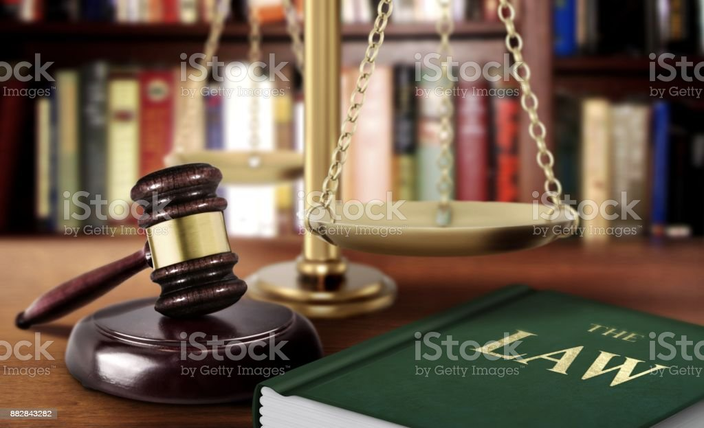 Gavel with scale and book of law justice concept stock photo