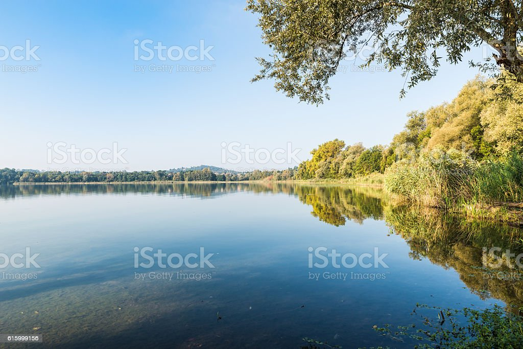 Gavirate and Varese lake, province of Varese, Italy stock photo