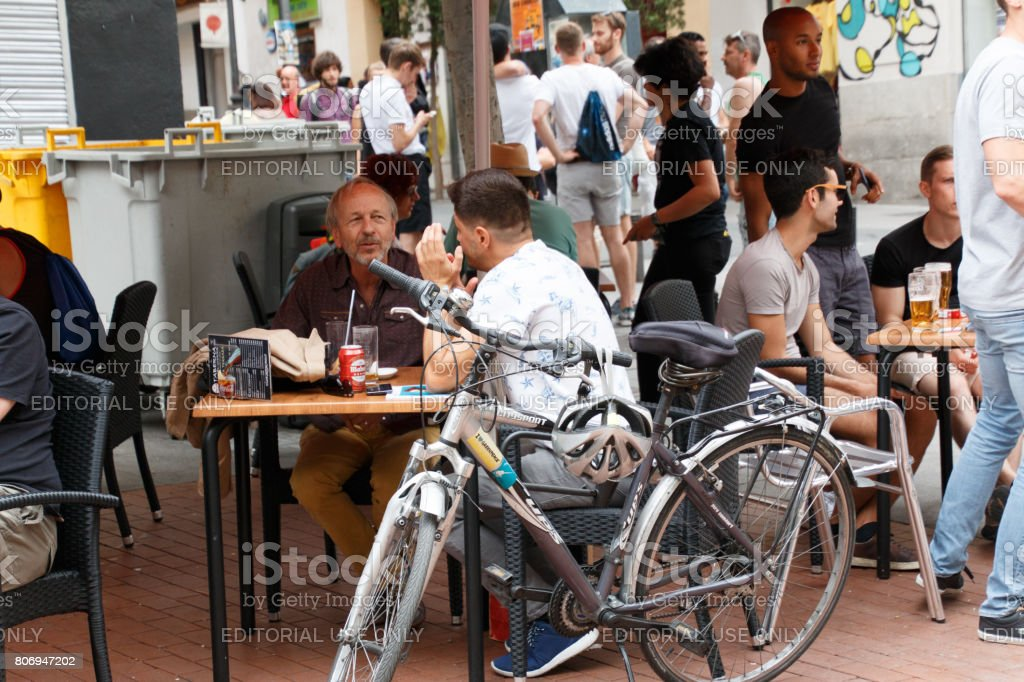 Gay and lesbian people enjoy worldpride party in madrid stock photo