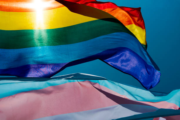 gay and transgender pride flags waving on the sky stock photo