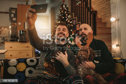 Gay Couple Celebrating Christmas at Home With Their Pets, Dog and Cat. Making selfie and smiling.