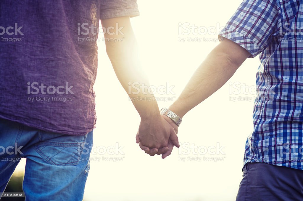 Gay couple enjoying summer stock photo