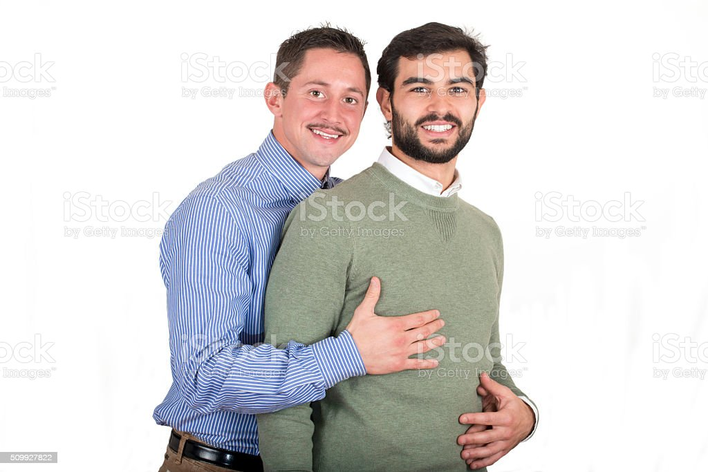 Gay couple in love stock photo