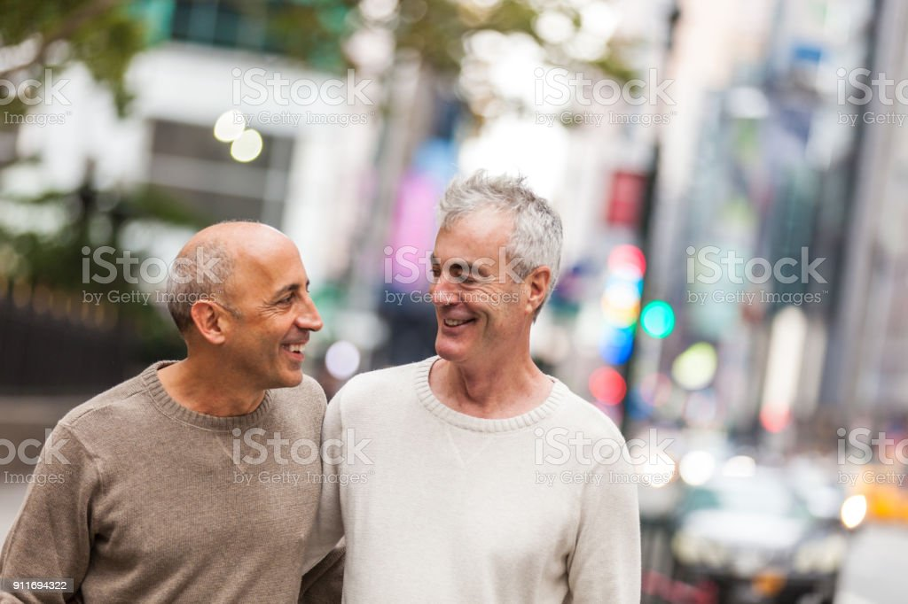 Gay couple in New York city stock photo