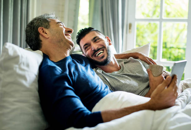 gay couple is spending time together - coppia gay foto e immagini stock