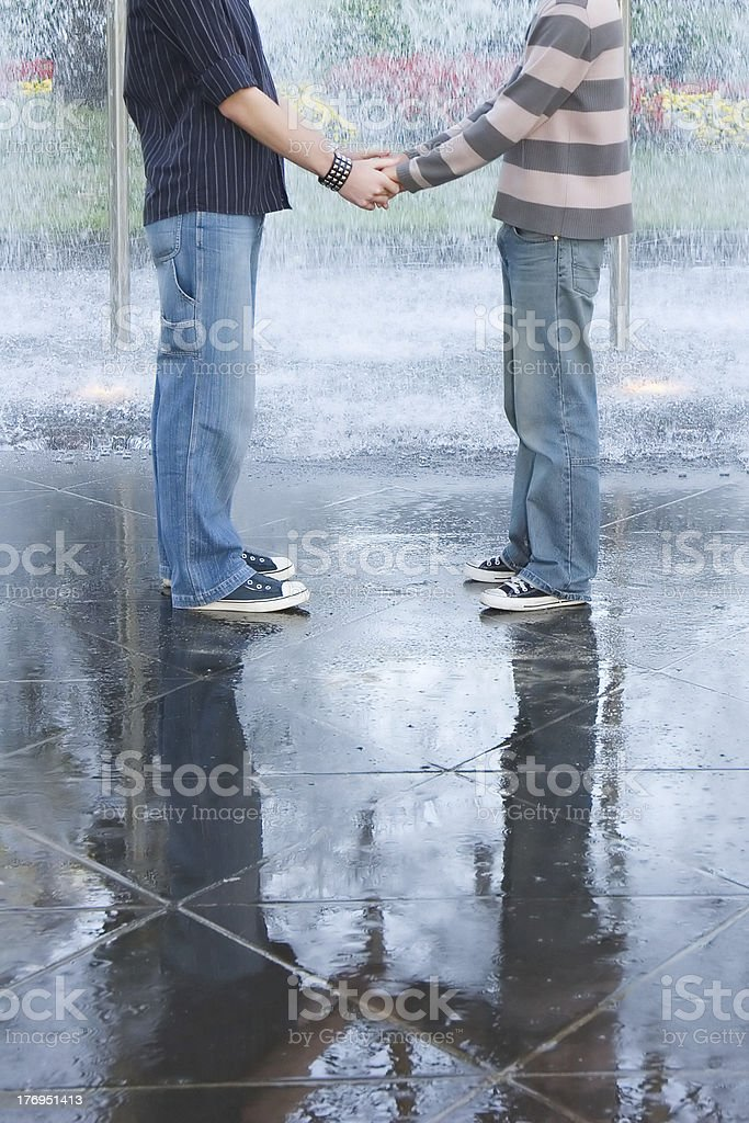 Gay couple: reflection royalty-free stock photo