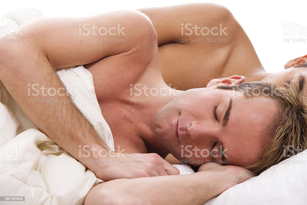Gay Couple Sleeping Together stock photo
