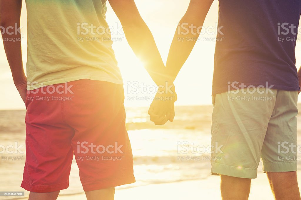 Gay couple watching sunset stock photo